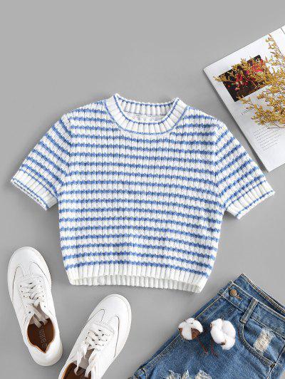 ZAFUL Striped Short Sleeve Crop Sweater - Multi S