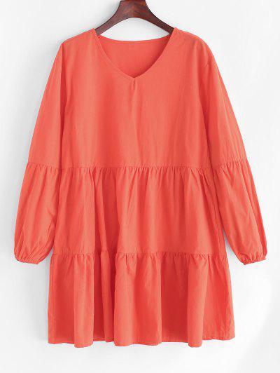 Tiered Lantern Sleeve Smock Casual Dress - Orange M