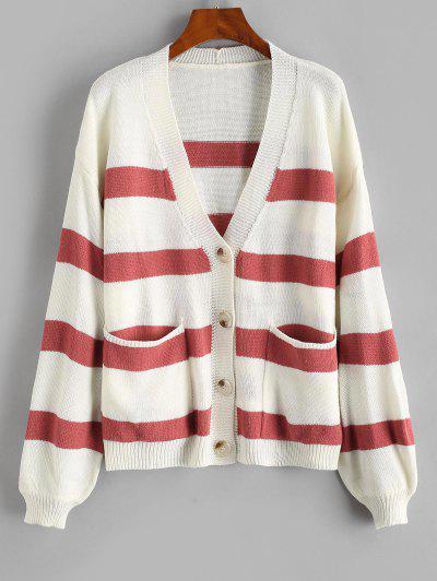 Striped Drop Shoulder Pocket Plunging Cardigan - Light Pink