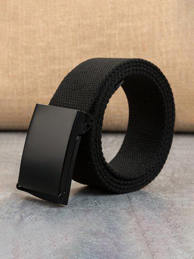 Double Ring Buckle Woven Canvas Belt - Black