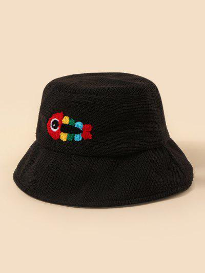 Plush Fish Graphic Knitted Bucket Hat - Black