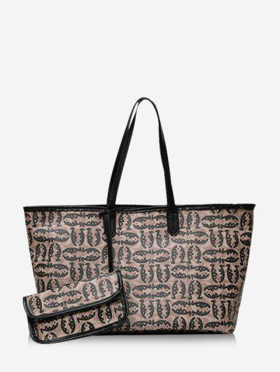 2 Piece Cartoon Fish Print Large Capacity Tote Bag Sets - Black