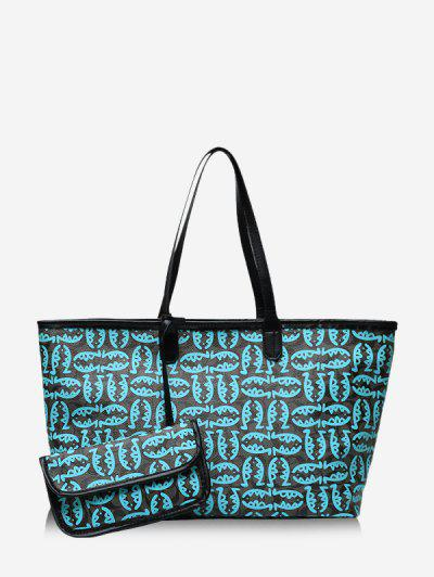 2 Piece Cartoon Fish Print Large Capacity Tote Bag Sets - Blue