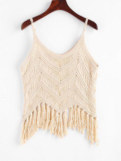 Fringed Crochet Beach Top - Light Coffee