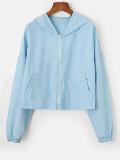 Hooded Drop Shoulder Zip Pocket Jacket - Light Blue M