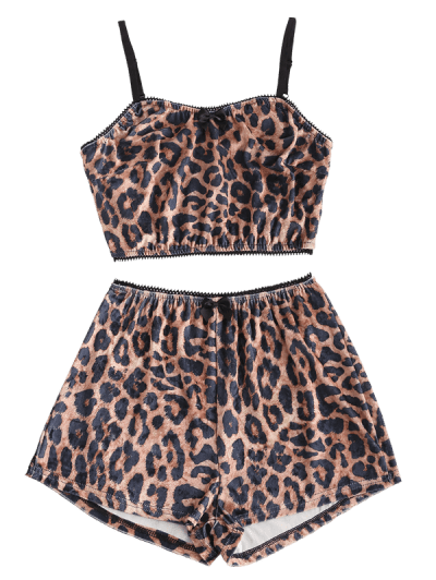 Leopard Velvet Short Bowknot Pajama Set