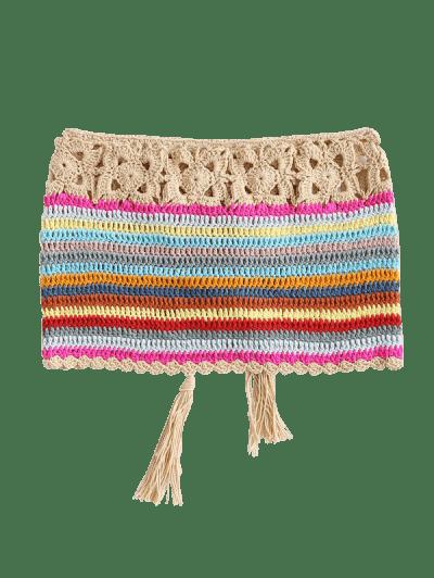Striped Crochet Lace-up Tassel Bandeau Beach Top