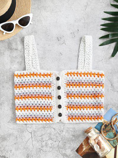 Striped Crochet Buttoned Openwork Beach Top - Dark Orange