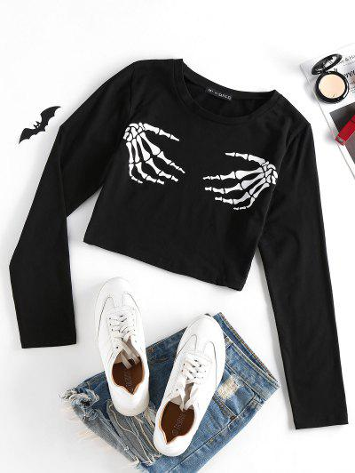 ZAFUL Halloween Skeleton Hand Crop T Shirt - Black L