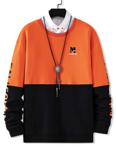 Contrast Color Letter Embroidery Drop Shoulder Sweatshirt - Pumpkin Orange S