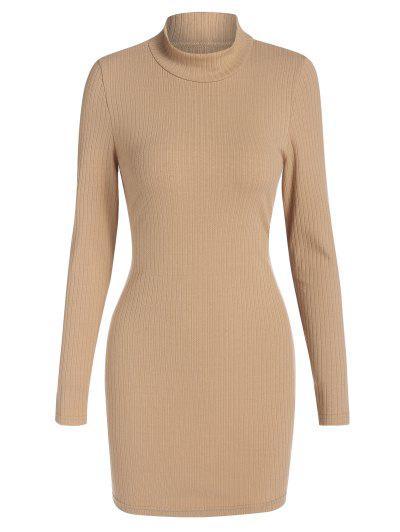 ZAFUL Cutout Mock Neck Mini Bodycon Dress - Light Coffee L
