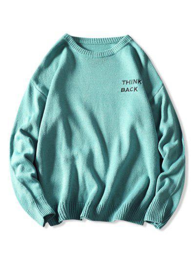 Letter Sketch Embroidered Drop Shoulder Sweater - Light Blue 3xl