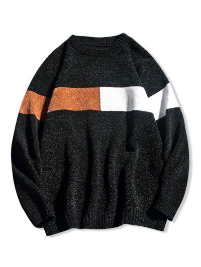 Contrast Crew Neck Pullover Sweater - Black M