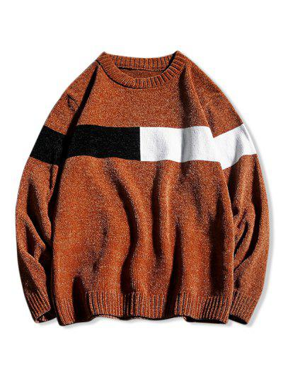 Contrast Crew Neck Pullover Sweater - Coffee M