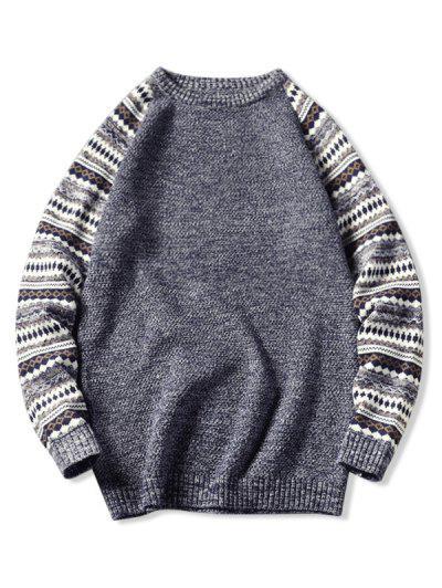 Tribal Pattern Raglan Sleeve Sweater - Slate Blue M
