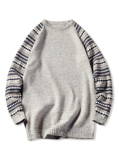 Tribal Pattern Raglan Sleeve Sweater - Beige L