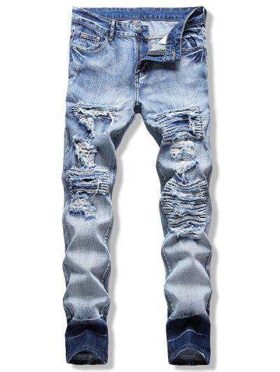 Light Wash Ripped Contrast Jeans - Light Blue 32