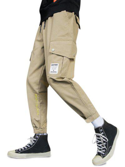 Letter Embroidery Hook Loop Hem Pencil Cargo Pants - Khaki M