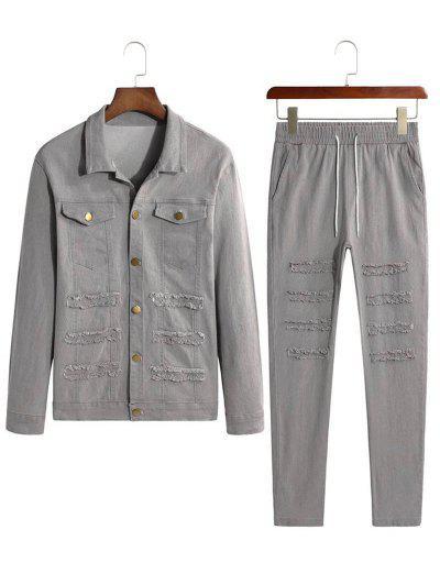 Frayed Patchwork Flap Pocket Jean Jacket And Denim Pants - Gray S