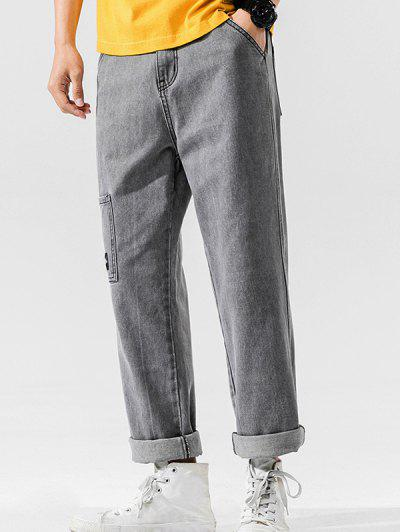 Solid Color Pockets Leisure Straight Jeans - Carbon Gray M