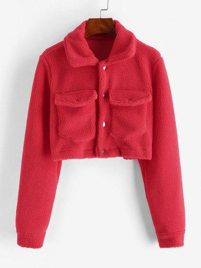 Cropped Snap Button Cargo Teddy Jacket - Red S