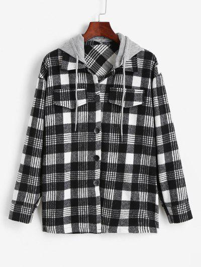 Plaid Removable Hood Tunic Flap Detail Coat - Black Xl