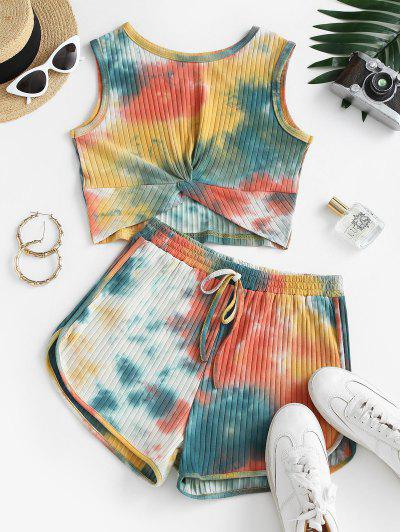 Tie Dye Twisted Ribbed Two Piece Shorts Set - Multi M