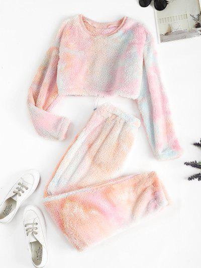 Tie Dye Faux Fur Toggle Drawstring Two Piece Pants Set - Light Pink M