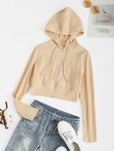 ZAFUL Ribbed Hooded Zip Up Cardigan - Apricot M