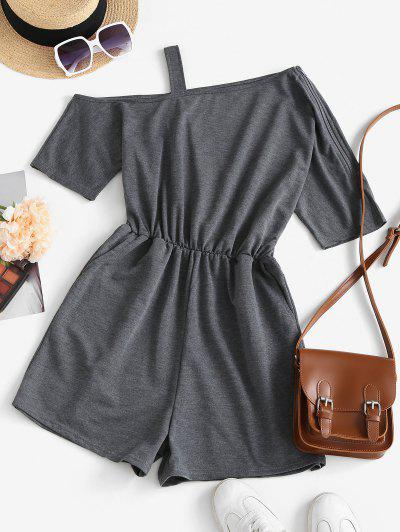 Skew Collar Open Shoulder Cutout Romper - Gray S