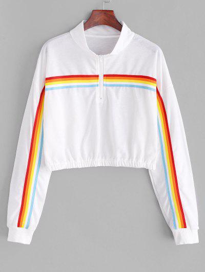 Rainbow Striped Zip Drop Shoulder Sweatshirt - White Xl