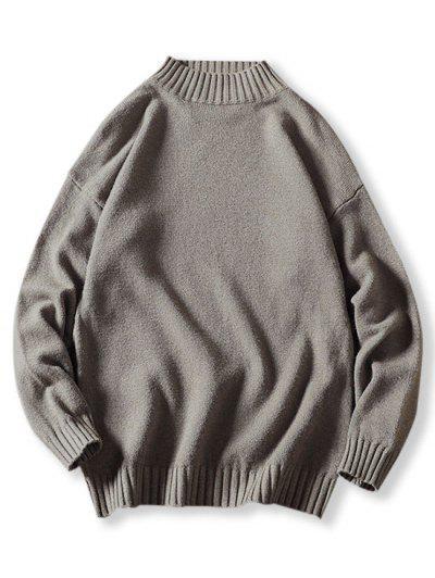 Mock Neck Drop Shoulder Sweater - Gray M