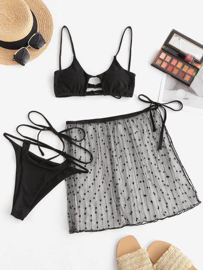 ZAFUL Lace Ribbed Criss Cross Cutout Three Piece String Bikini Swimwear - Black S