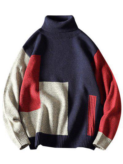 Contrast Geometric Pattern Turtleneck Sweater - Cadetblue 2xl