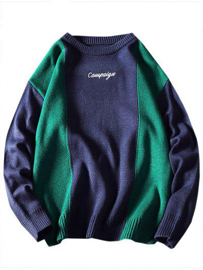 Letter Embroidered Contrast Sweater - Blue Xl