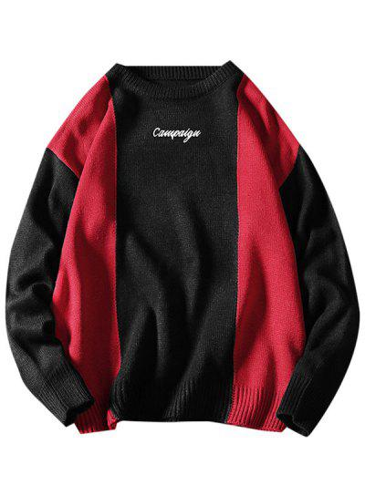 Letter Embroidered Contrast Sweater - Black 4xl