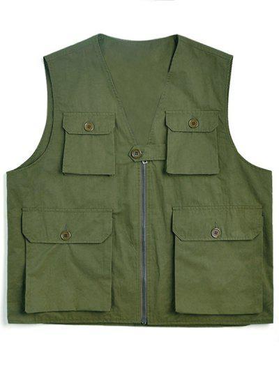 Einfarbige Weste Mit Mehreren Taschen - Armeegrün 3xl