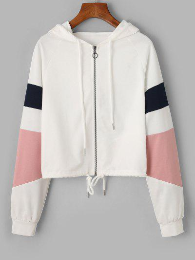 ZAFUL Zip Color Blocking Drawstring Hoodie - White L