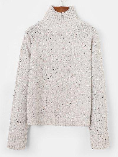 Cuffed Sleeve Confetti Knit Drop Shoulder Sweater - White