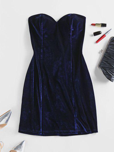 ZAFUL Velour Lace Up Strapless Dress - Deep Blue L