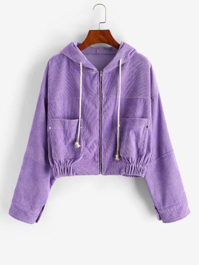 Zip Up Hooded Pockets Corduroy Jacket - Purple S