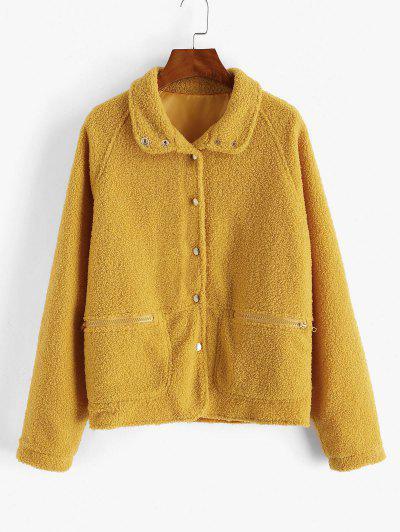 Snap Button Zip Pocket Raglan Sleeve Teddy Coat - Yellow Xl