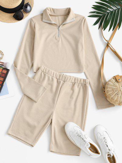 Zip Front Pull On Two Piece Shorts Set - Light Coffee M