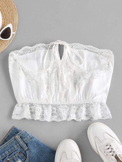 ZAFUL Strapless Lace Insert Lingerie Bralette - White L