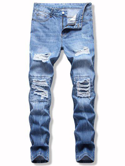 Leichte Wäsche Reißverschluss Zerrissene Jeans - Hellblau 32