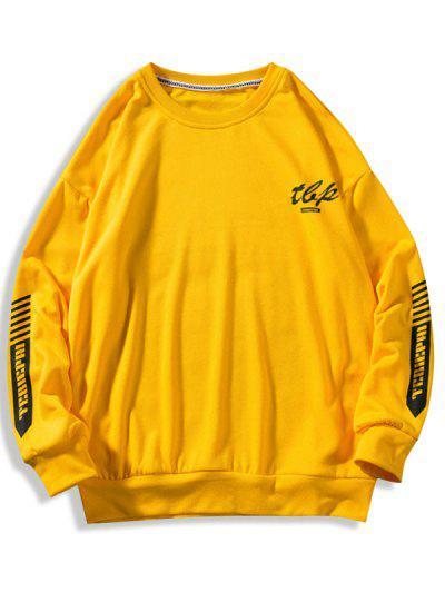 Letter Stripes Pattern Crew Neck Sweatshirt - Yellow M