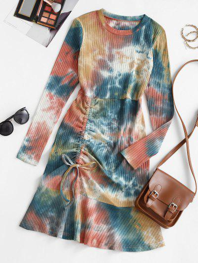 Tie Dye Cinched Flounce Ribbed Tee Dress - Multi L