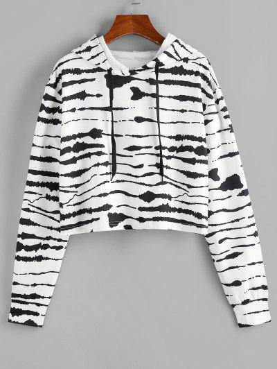 ZAFUL Tie Dye Drawstring Pullover Hoodie - Black L