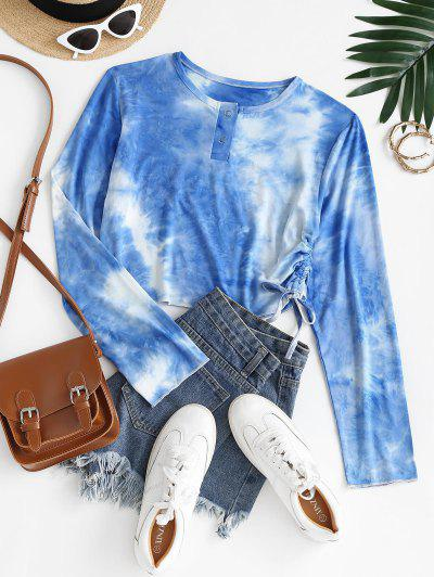 Tie Dye Cinched Ruched Snap Button Tee - Blue L