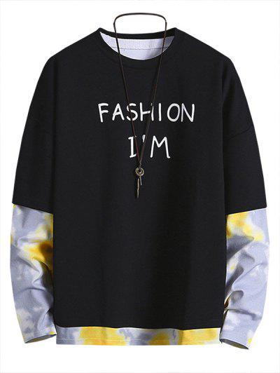 Letter Print Tie Dye Faux Twinset Sweatshirt - Black M